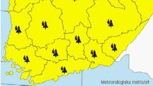 Karta som visar varning för skogsbrand i hela södra Finland.