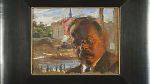 Akseli Gallen-Kallelas porträtt av Walter Sjöberg, troligen Helsingforsvy i bakgrunden. Ur Borgå museums samling.