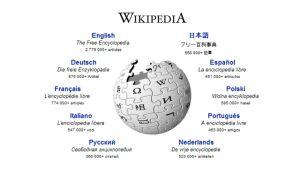 Wikipedias paradsida på webben den 1 april 2009.