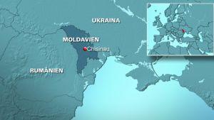 Karta över Moldavien med grannländer