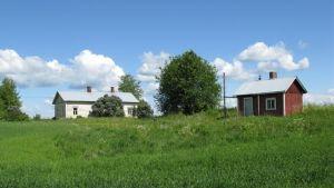 Hus på landsbygden i sommarlandskap.