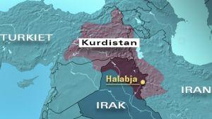 Karta över Kurdistan.