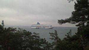 Dykare undersöker Silja Europa på södra Erstan