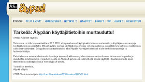 Spelajten Älypää utsattes för dataintrång den 23 mars 2010. 127000 använares uppgifter läckte ut på nätet.