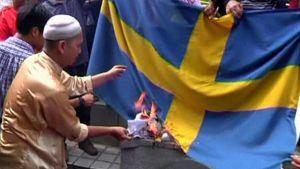 Sveriges flagga bränns i Malaysia