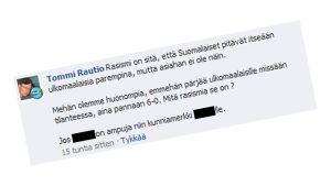 Sannfinländaren Tommi Rautios Facebookkommentar om pizzeriamordet i Uleåborg.