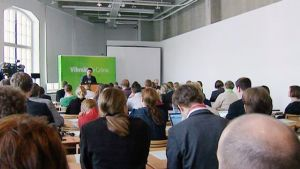 Ville Niinistö talade vid partifullmäktiges möte i Tammerfors 31.03.12