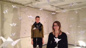 Konstnärerna Sylvia Javén och Henna Hellman med sin installation Bird Encyklopedia, i konstbutiken PopUp Vaasa 2013.