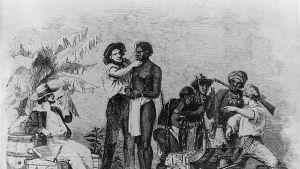 Afrikansk slav inspekteras av vit slavhandlare