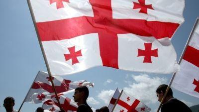 Georgiska flaggor på minnesdagen.