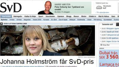 Johanna Holmström får Svd:s litteraturpris