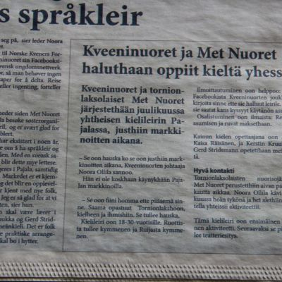 Ruijan kaiku sanomalehti kveeni kieli norja meänkieli