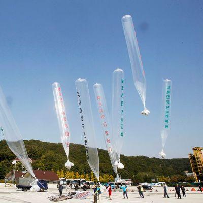 Ilmapallojen avulla lähetetään propagandaa Pohjois-Koreaan.