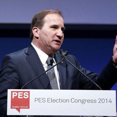 Ruotsin sosiaalidemokraattisen puolueen johtaja Stefan Löfven puhumassa Euroopan sosialistipuolueiden kokouksessa.