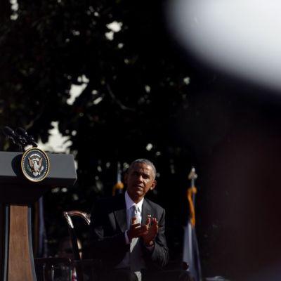 Paavi Franciscus ja Yhdysvaltain presidentti Barack Obama Valkoisen talon luona 23. syyskuuta.