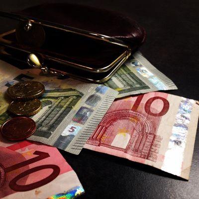 Raha, kolikoita, euro, seteleitä, rahapussi, kukkaro, rahakukkaro, raha, säästökuuri, säästö,