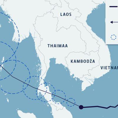 Kartta: Pabuk-myrsky ja sen ennusteet
