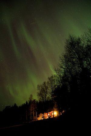 Norrsken över Trollböle i Ekenäs 17.3.15