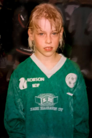 Linda som liten fotbollstjej i Vanda.