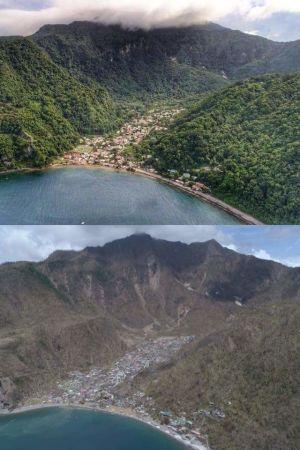 Ön Dominica före och efter orkanen Maria.