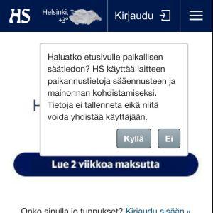 HS:n ilmoitus paikannustietojen käytöstä.