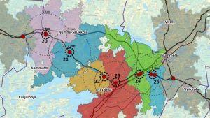 Karta över Lojo med sex stycken anslutningar till motorvägen utprickade.