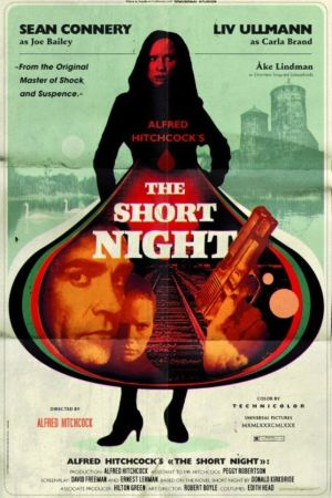 "En fiktiv filmaffisch för den påtänkta thrillern ""The short night""."