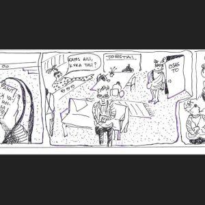 sarjakuva hoivakotivierailusta: tytär tulee tapaamaan äitiään
