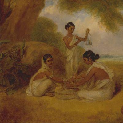 Öljymaalaus, jossa kaksi naista jauhaa käsikivillä viljaa ja yksi ruokkii pikkulintua. Kuvassa myös imettävä vuohi, saviruukku ja taustalla palmuja.