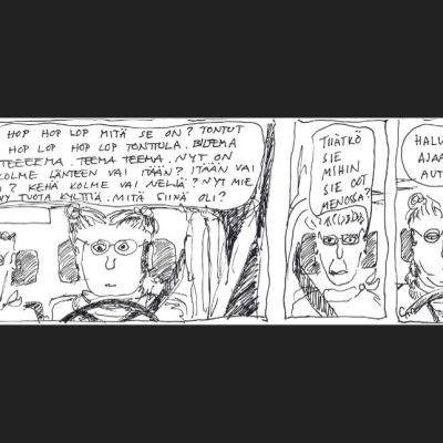 ironinen sarjakuva jossa autoillaan muistisairaan kanssa