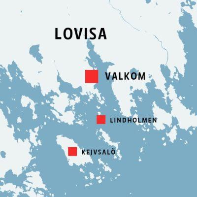 Karta som visar Lovisa, Valkom, Lindholmen och Kejvsalö