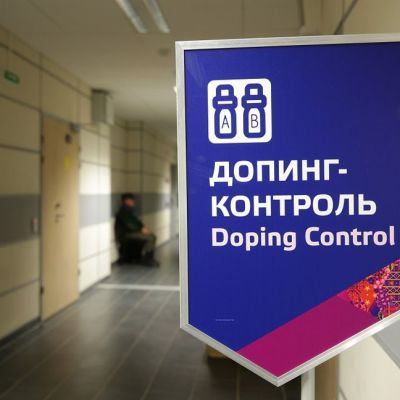 Sotshin olympialaisten dopingtestauspaikan kyltti.
