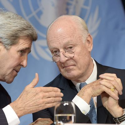 John Kerry ja Staffan de Mistura.