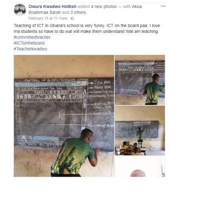 Tietotekniikka-opettaja Richard Appiah Akoto piirtää liitutaululle tekstinkäsittelyohjelma Wordin näkymän selittääkseen opilaille, miten ohjelmistoa käytetään.