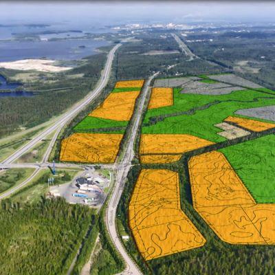Luonnos Kemintulli yritysalueesta. Kuvassa näkyy teitä ja metsää sekä luonnostellut tontit.