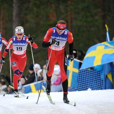 Justyna Kowalczyk, Therese Johaug ja Heidi Weng viime talvena Falunin laduilla.