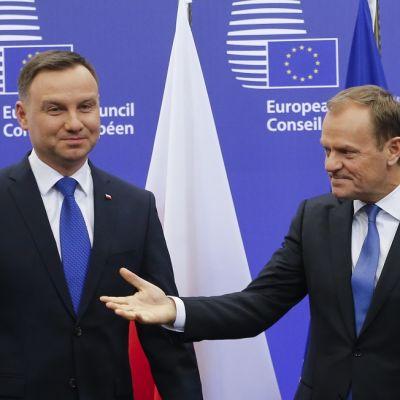 Donald Tusk ja Andrzej Duda Eurooppa-neuvoston logon edessä.