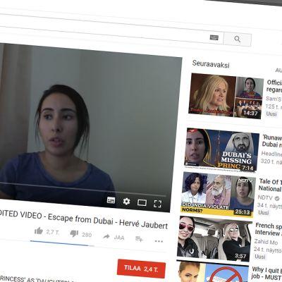 Kuvakaappaus Latifa al-Maktoumin YouTube-videosta.