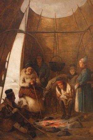 Poroaamelaisten kodassa. Maalaus: François-Auguste Biard
