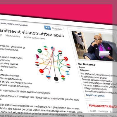 Kuvakaappaus ja grafiikka Nur Mohamedin blogikirjoituksesta uusisuomi.fi -sivustolta.
