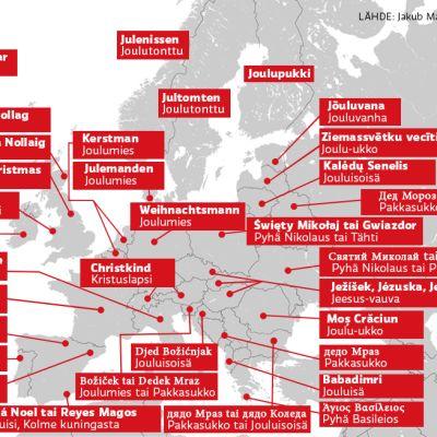 Grafiikka, Euroopan joulunimiä