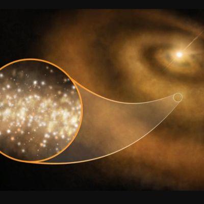 Piirroskuva proplanetaarisesta kiekosta ja suurennus hohtavista nanotimanteista.