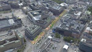 Karta över centrum av Helsingfors.