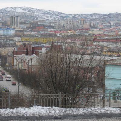 Näkymä talviseen Murmanskiin