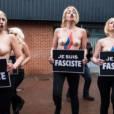 Paidattomia Femen-aktivisteja.
