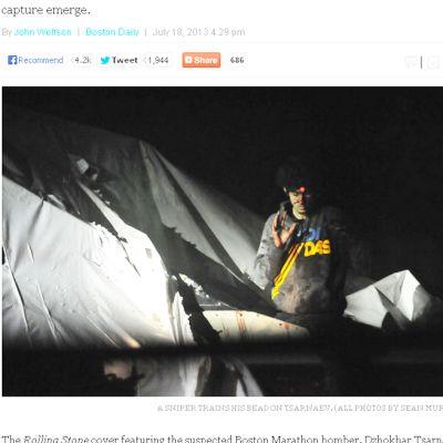 Kuvankaappaus Boston Magazinen verkkosivuilla julkaistusta artikkelista, jonka kuvituksena on poliisin valokuvia Džohar Tsarnajevin pidätyksestä.