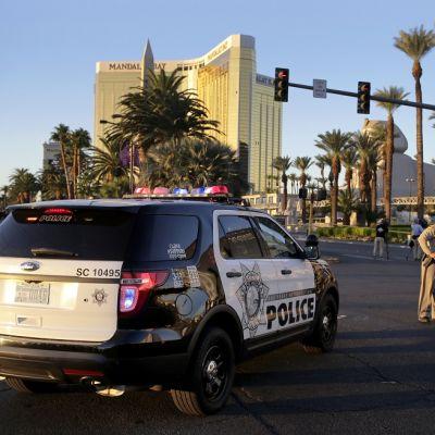 Poliisiauto on parkkeerattu tielle. Kuvan oikeassa reunassa seisoo kolme poliisia. Taustalla näkyy hotelli.