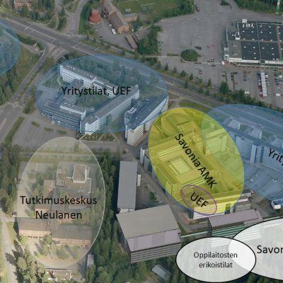 Havainnekuva Savonia-ammattikorkeakoulun ja Savon koulutuskuntayhtymän kampussuunnitelmasta.