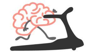Ihmeellisten aivojen jakokuva. Piirretyt aivot juoksumatolla.