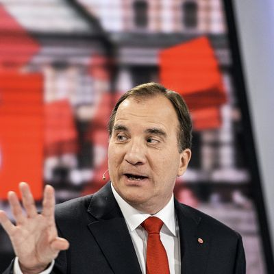 Sosiaalidemokraattisen puolueen puheenjohtaja Stefan Löfven TV 4:n kuvauksissa Tukholmassa 10. syyskuuta.